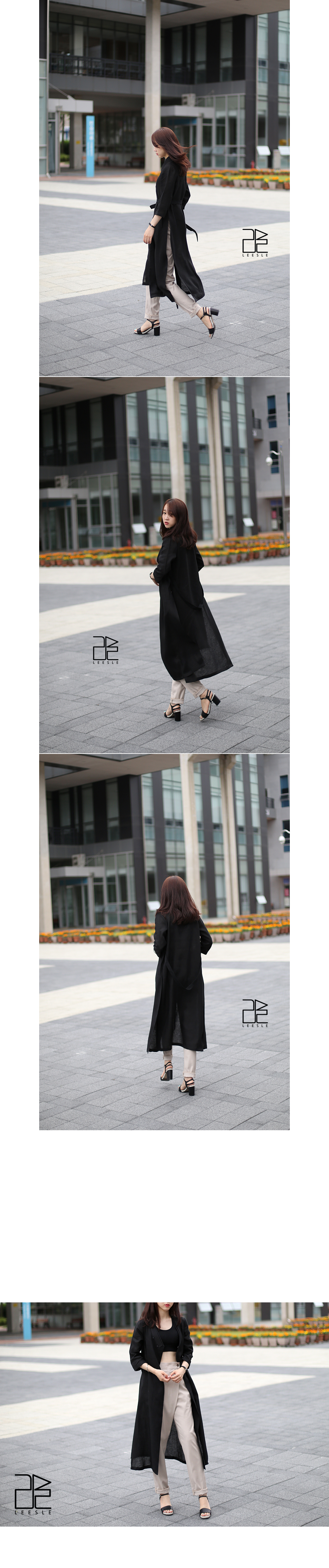 [ leesle ] Linen Sochang Maxi Coat[Black]