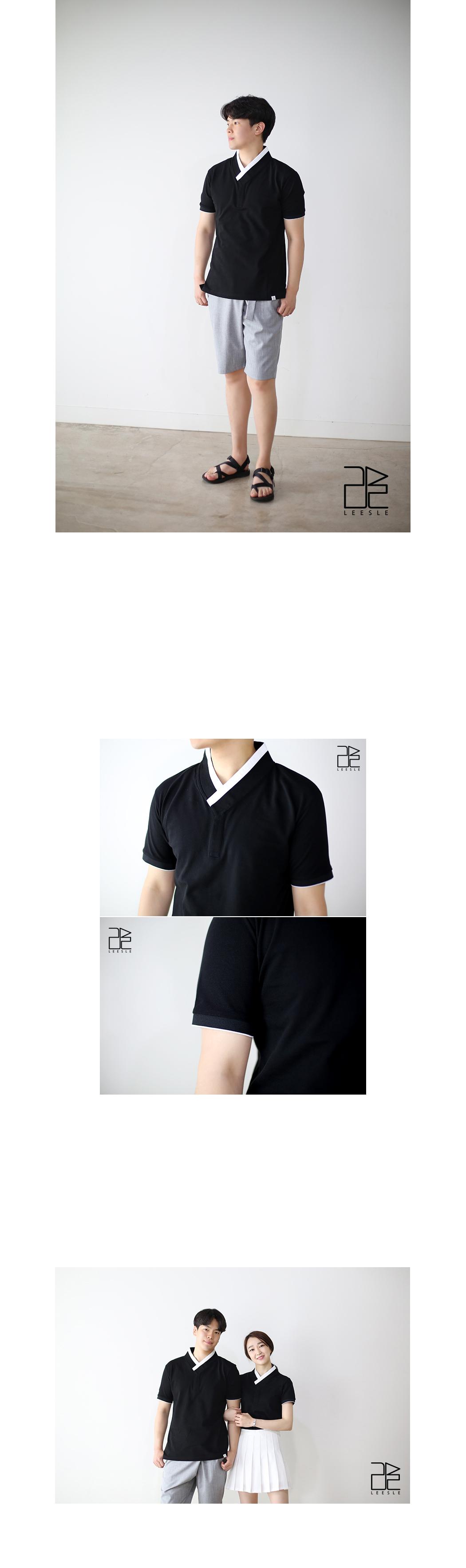 [ leesle ] PK 男人的韩服 T 恤-[黑色薄型]