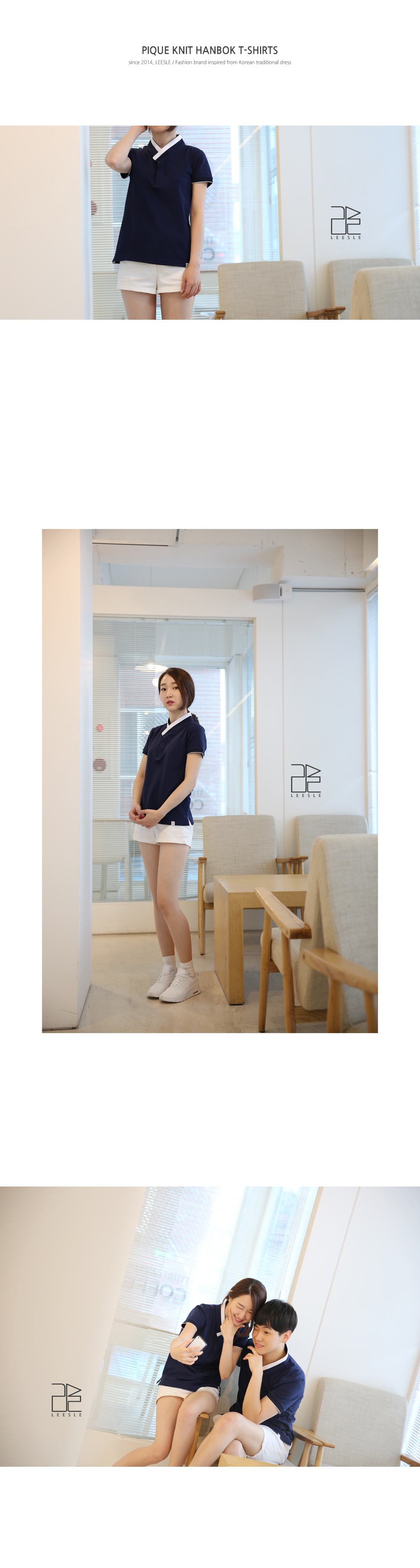 [ leesle ] PK 女式韩服的 T 恤衫-[海军]
